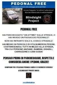 volantino della campagna Pedonal Free di Blindsight Project