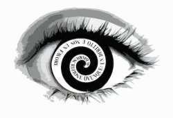 """Logo composto da un occhio e una spirale con scritto """"Audiodescrizione ovunque: un diritto e non un favpre"""""""