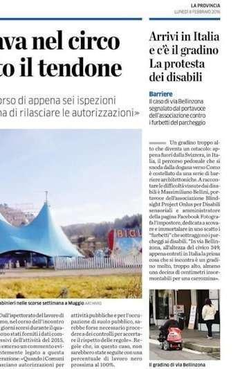 Articolo del Corriere delle Alpi dell'11 febbraio 2016 sulla verifica di accessibilità all'ospedale di Feltre