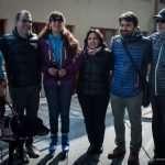 Foto di gruppo al palaghiaccio con il sindaco