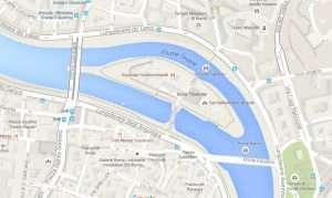 Mappa dell'isola Tiberina a Roma