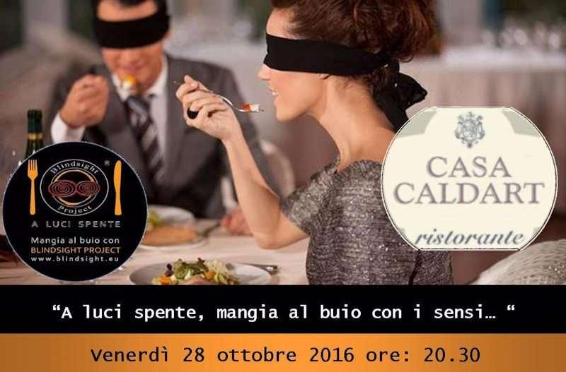 Locandina della cena al buio del 28 ottobre 2016 organizzata a Treviso d blindsight Project