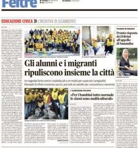"""Articolo del giornale di Feltre sulla manifestazione """"Puliamo il mondo"""""""