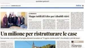 Articolo del Corriere delle Alpi sul progetto mappe tattili