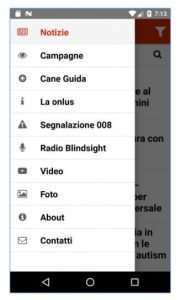 Screenshot della nuova app di Blindsight Project